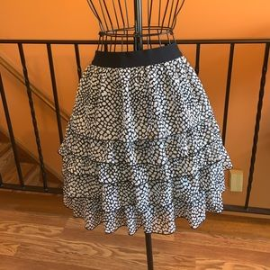 Black and white knee length skirt with layers